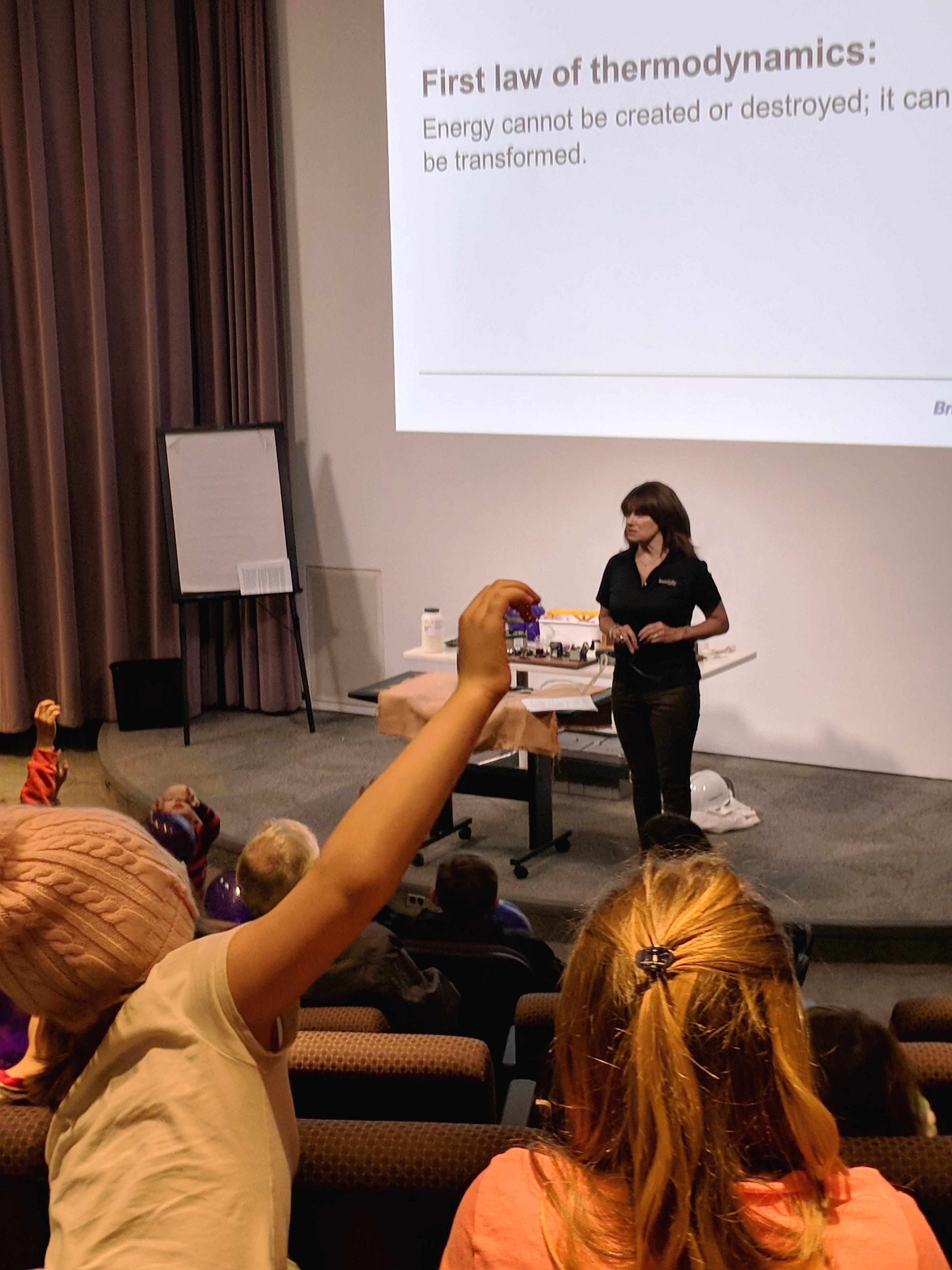 Students listen to presentation