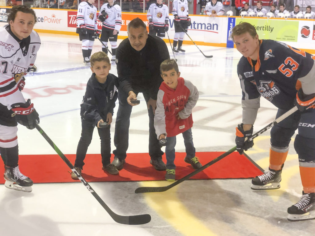 Youth drop the puck at Owen Sound Attack game