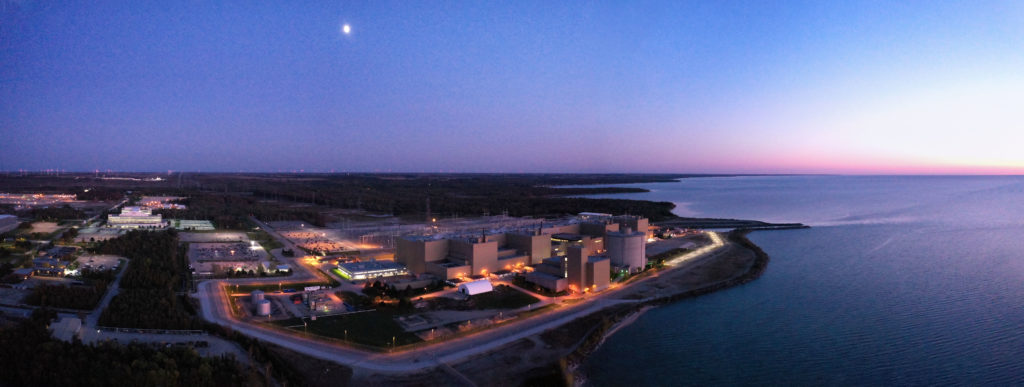 Aerial view of Bruce A at dusk