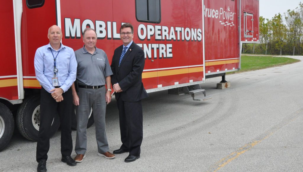 Dignitaries in front of Bruce Power Mobile Operations Centre
