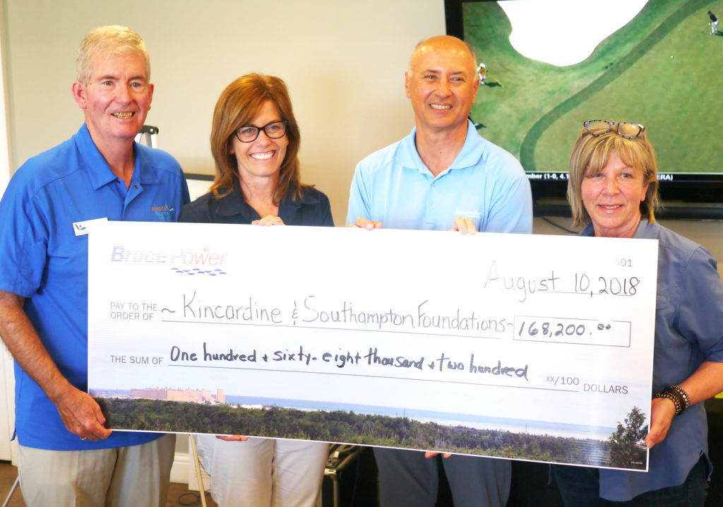 Hospital foundations receive cheque from fundraiser