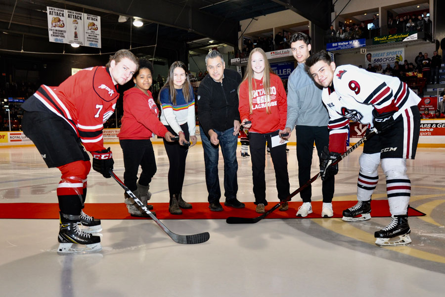 Puck Drop at Owen Sound Attack game