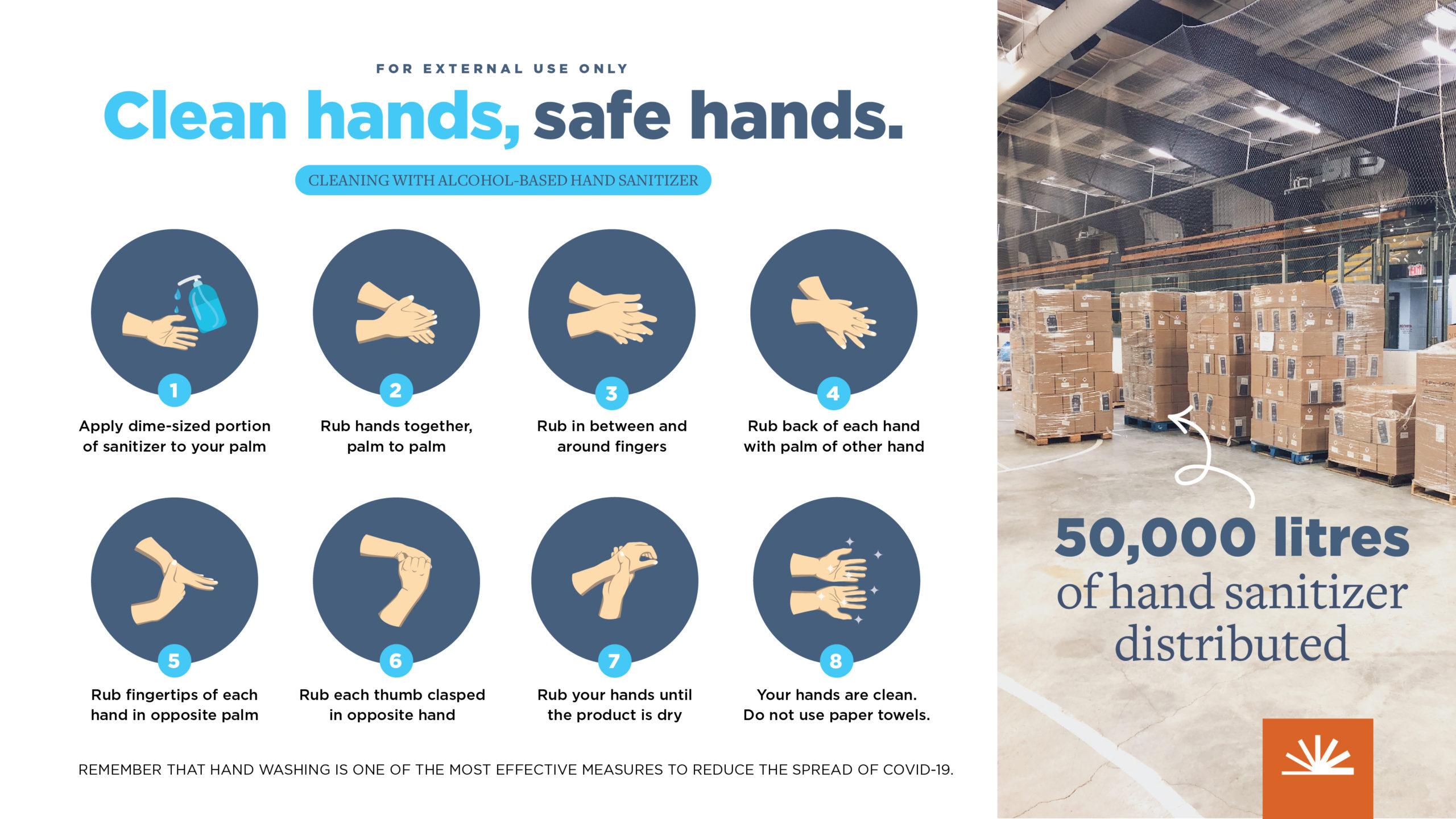 Bruce Power hand sanitizer instructions