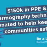 Advertisement for $150,000 PPE donation Be a Light campaign
