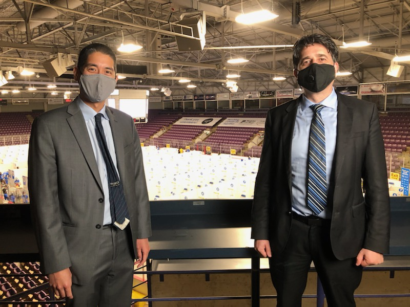 Dr Loh and Dr Arra above the Peel Hockey Hub